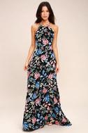 Loving Ways Black Floral Print Maxi Dress 2