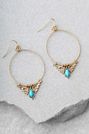 Queen of Egypt Turquoise and Gold Earrings 1