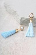 Tease and Tempt Light Blue Tassel Earrings 2