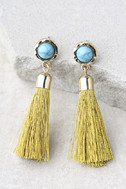 Tease and Tempt Yellow Tassel Earrings 2