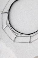 Sentimental Black and Silver Choker Necklace Set 2