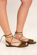 Crissy Olive Suede Lace-Up Peep-Toe Flats 3