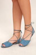 Crissy Light Blue Denim Lace-Up Peep-Toe Flats 1