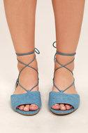 Crissy Light Blue Denim Lace-Up Peep-Toe Flats 2