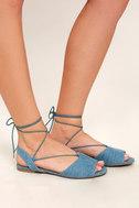 Crissy Light Blue Denim Lace-Up Peep-Toe Flats 3