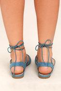 Crissy Light Blue Denim Lace-Up Peep-Toe Flats 4
