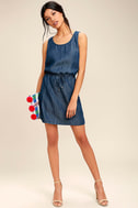 Olive & Oak Adley Dark Blue Chambray Dress 2