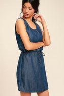 Olive & Oak Adley Dark Blue Chambray Dress 3