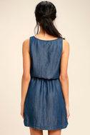 Olive & Oak Adley Dark Blue Chambray Dress 4