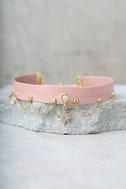 Ettika Sleeping Beauty Pink Leather Choker Necklace 1