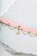 Ettika Sleeping Beauty Pink Leather Choker Necklace 2