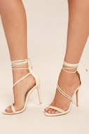 Ameerah Nude Lace-Up Heels 1