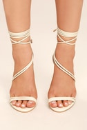 Ameerah Nude Lace-Up Heels 2