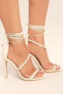Ameerah Nude Lace-Up Heels 3