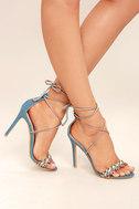 Kensey Denim Lace-Up Heels 1