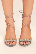 Kensey Denim Lace-Up Heels 2