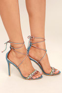 Kensey Denim Lace-Up Heels 3