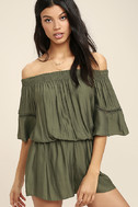 With Feeling Olive Green Off-the-Shoulder Romper 3