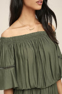 With Feeling Olive Green Off-the-Shoulder Romper 5