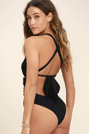 Blue Life Woodstock Black Lace-Up One Piece Swimsuit 3
