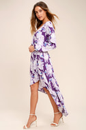 Lucy Love Raw Beauty Purple Floral Print High-Low Dress 2