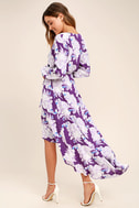 Lucy Love Raw Beauty Purple Floral Print High-Low Dress 3