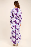 Lucy Love Raw Beauty Purple Floral Print High-Low Dress 4