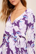 Lucy Love Raw Beauty Purple Floral Print High-Low Dress 5