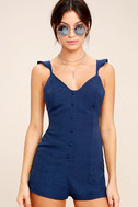 Dance It Out Navy Blue Backless Romper 1