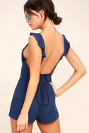 Dance It Out Navy Blue Backless Romper 3