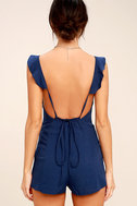 Dance It Out Navy Blue Backless Romper 4