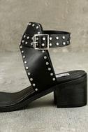 Steve Madden Gila Black Studded Ankle Strap Heels 7