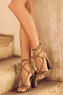 Ophelia Olive Suede Lace-Up Heels 1