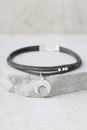 Forever Grateful Silver and Dark Grey Layered Choker Necklace 1
