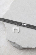 Forever Grateful Silver and Dark Grey Layered Choker Necklace 2