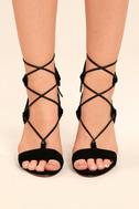 Daya by Zendaya Starke Black Suede Lace-Up Heels 2