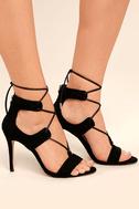 Daya by Zendaya Starke Black Suede Lace-Up Heels 3