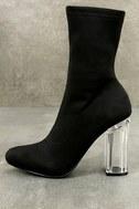 Antoinette Black Lucite Mid-Calf Boots 2