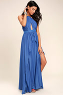 On My Own Blue Maxi Dress 3