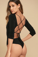 Meant for You Black Lace-Up Bodysuit 4