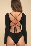 Meant for You Black Lace-Up Bodysuit 5