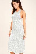 Delightful Demeanor Blue and Cream Bodycon Midi Dress 3
