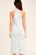 Delightful Demeanor Blue and Cream Bodycon Midi Dress 4