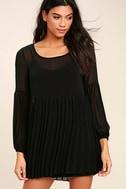 Aim to Pleats Black Long Sleeve Dress 1