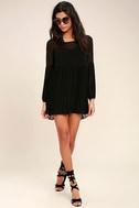 Aim to Pleats Black Long Sleeve Dress 2