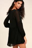Aim to Pleats Black Long Sleeve Dress 3