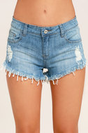Better With Time Light Wash Distressed Denim Shorts 5
