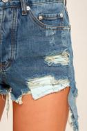 Guitar Riff Medium Wash Destroyed Denim Shorts 6