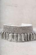 New Friends Colony Saree Ivory Beaded Choker Necklace 3