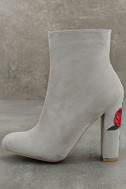 Gitana Light Grey Suede Embroidered Mid-Calf Boots 2